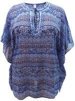 Pretty Blue Printed Ethnic Kaftan Lightweight Summer Cover Up Plus Sze18/24 BNWT