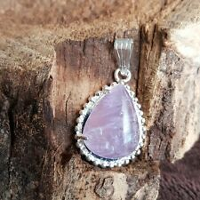 Natural Purple Amethyst Gemstone Tear Drop Pendant Sterling SIlver Necklace