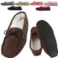 Lambland Mens / Ladies Genuine Sheepskin Suede Moccasin Slippers with PVC Sole