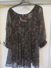 E-Vie Black & Multicoloured See Through Paisley Smock / Tunic Top in Size 10