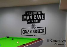 Man Cave Wall Decal Welcome Sign Vinyl Sticker Grab Your Beer Housewarming Gift
