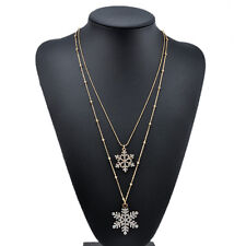 Charm Crystal Snowflake Frozen Flower Sterling Silver Gold Necklace Pendant Gift