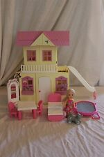 "Barbie  Kelly fold-out House with 5"" Kelly doll, cat, furniture 3+ Mattel HTF"