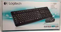 Logitech MK120 Keyboard and Mouse Desktop Wired USB Black Keyboard US Layout NEW