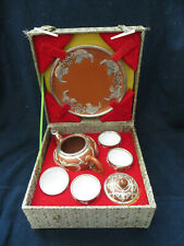 Vintage 7Pc Terra Cotta Tea Set Teapot & Cups Asian Silver tone Pewter Overlay