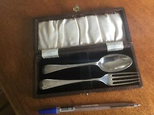 James Dixon &Sons Cased Engraved Sterling Youth Set Spoon Fork