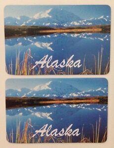 Pair Of Miniature Vintage Alaska State Souvenir Swap Cards USA