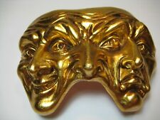 Theatre Theater Three Face Mask Tragedy Comedy Handpainted Gold Ceramic Venice