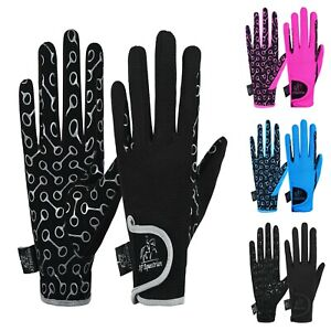 Kids Equestrian Horse Riding Gloves Synthetic Leather Cotton Palm Printed Grip