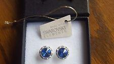 Genuine Swarovski Elements Blue Sapphire Crystal Stud Earrings 13mm
