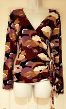 Womens Boden Bold Autumn Coloured Print Stretch Wrap Top Tie Belt Size 12 Vgc.