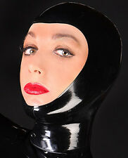 Unisex Sexy Latex Rubber Hood Mask Open Face Holiday Party Wear Unique S-LM064
