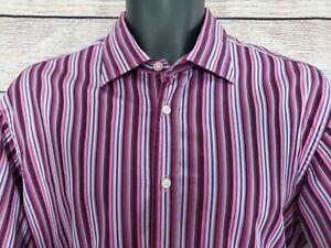 MINT A+++ ETRO SPA Via Spartaco - Pink Purple Striped Dress Shirt - Size 43 (A4)