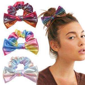 Shiny Sequin Rainbow Metallic Scrunchies Big Bow Elastic Ponytail Hair Ties FS