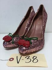 V38 NEW RED Valentino Pink Glitter Cherry Almond Toe Pumps Women's Size 37 M