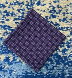 Purple White Cotton Check Pocket Square Handkerchief Neckerchief Bandana