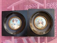 Hand Painted  Pair Miniature Portrait of Ladies  Antique in Wood Frame Signed