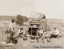 Chuck Wagon & Cowboys on Roundup, Texas - circa 1900 - Historic Photo Print