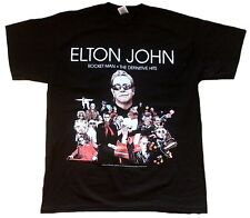 OFFICIEL Elton John Fusée UN THE DEFINITIVE HITS TOUR 2007 NOIR TEE-SHIRT L