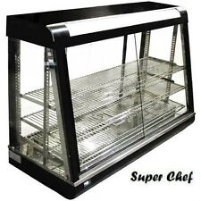 """New! Heated Food Display Warmer Cabinet Case 48"""" Glass on all sides & In Stock"""