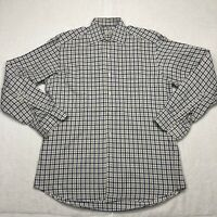 Ermenegildo Zegna Button Up Shirt Adult 40 15.75 Blue Brown Long Sleeve Mens*