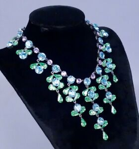 Amazing Vintage 1960s/70s Blue Green Austrian Crystal Necklace Earrings Suite