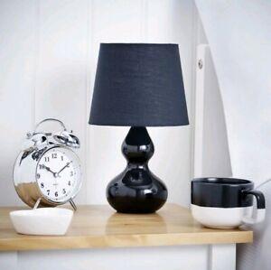 28cm BLACK Ceramic Table Lamp Small Desk Light Home Office Dine Decor KIDS ROOM