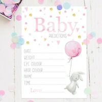 Baby Shower Games -Prediction Cards Pink Rabbit Balloon Baby Girl New Mum To Be