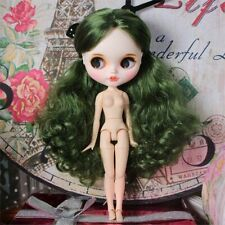 """12"""" Blythe factory Nude Doll Long Green hair joints body Mouth+teeth Matte face"""