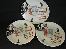 """3 Gien Jeux Mah Jong Dessert/Canape Plates, 7"""""""