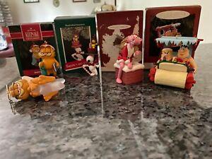 Hallmark Garfield, Snoopy, Pink Panther & Flintstones Ornaments - Total 5