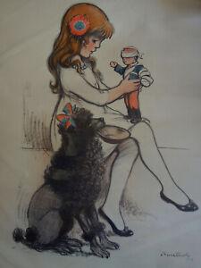 Lithographie Poulbot Petite Fille jouant avec une poupée Poilu 1917