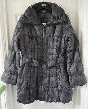 M&S Women Mid Length Animal Print Padded Coat, Black Mix, SZ M, Was £59
