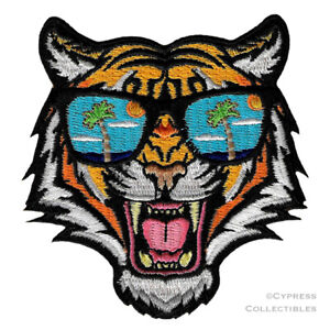 BENGAL TIGER SUNGLASSES iron-on PATCH embroidered ANIMAL SOUVENIR APPLIQUE new