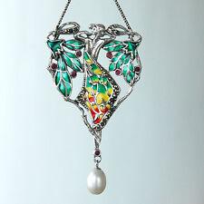 C147  Collier Style Art Nouveau Argent Massif 925 Perles & Rubis & Marcassites