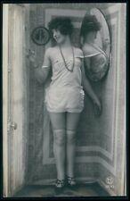 cc French risque woman near nude lingerie mirror tease girl 1920s photo postcard