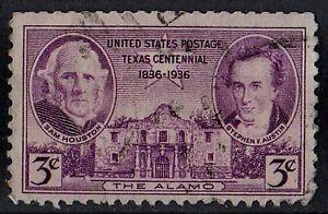 US 1936 Scott #776 Texas Centennial Sam Houston S. F. Austin Alamo 3 Cent STAMP