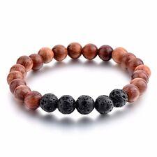 Mystiqs Lava Rock and Dark Wood Beaded Bracelet  Men & Women Anti-Anxiety
