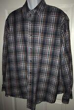 AUSTIN Clothing Co Red White Blue 100% Cotton Button Shirt Men XL L/S