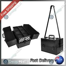 Cosmetic Makeup Carry Case Professional Portable Travel Beauty Crocodile Black