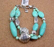 BRIGHTON SILVER / TURQUOISE MOJAVE BEADED BRACELET ~ NEW IN POUCH