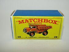 """Matchbox Regular Wheels No 28 Mack Dump Truck """"E4"""" Type Box Excellent"""