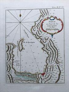 1764, Chili Pinco ou Port de la Conception Antic Map Carte Couleurs Hand Colored