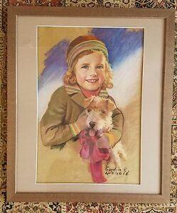 GORDON E. NICHOLS PASTEL ON BOARD-LISTED ARTIST WINTER GIRL WITH DOG