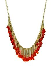 Red And Orange Long Teardrop Fringe Beaded Necklace In Matte Gold - NEW