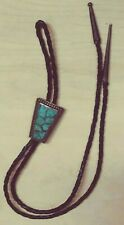 Vintage Leather & Turquoise Fish Scale Bolo Tie (#CN -9)