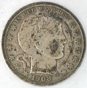 1908 D Barber Half Dollar 90% Silver 50 Cent Coin Denver Mint High Grade