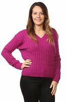 New Ladies Cable Knitted Long Sleeve Jumper Sweater Women NavyTops Size 10 to 16
