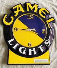 Original Vintage Joe CAMEL LIGHTS Cigarette Store Display wall CLOCK Promo Sign
