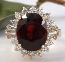 10.10 Carats Natural Red Garnet and Diamond 14K Solid Yellow Gold Ring